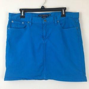 Ralph Lauren Sport Turquoise Blue Denim Mini Skirt